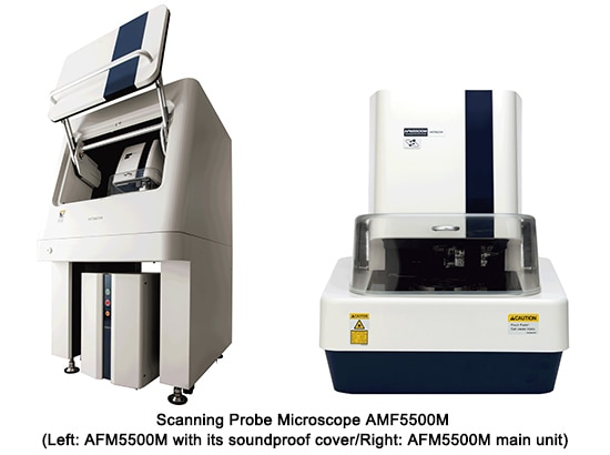 Scanning Probe Microscope AMF5500M(Left: AFM5500M with its soundproof cover/Right: AFM5500M main unit)