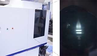 At left, an ICP optical emission spectrometer in use at Kanagawa University. At right, a sample emitting light with plasma.