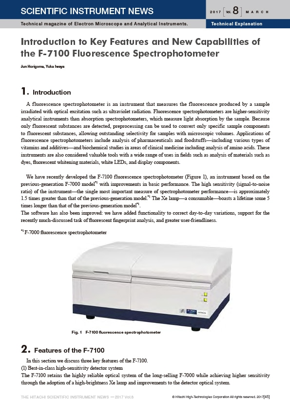 Introduction to Key Features and New Capabilities of the F-7100 Fluorescence Spectrophotometer
