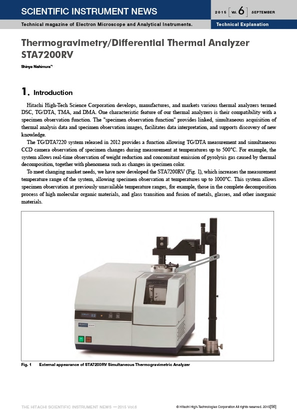 Thermogravimetry/Differential Thermal Analyzer STA7200RV