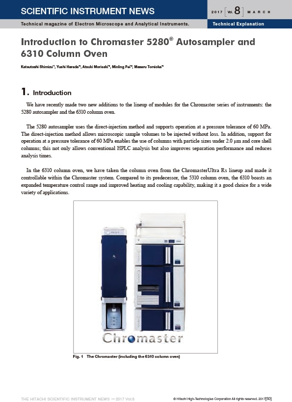 Introduction to Chromaster 5280® Autosampler and 6310 Column Oven