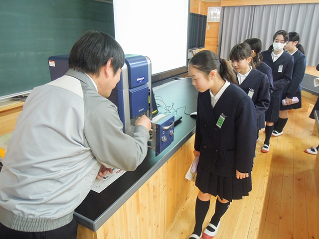 Children getting interested in microscopes