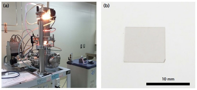 (a) Photograph of the ultra high-speed high-temperature infrared heating unit.(b) A single-crystal single-layer graphene sample