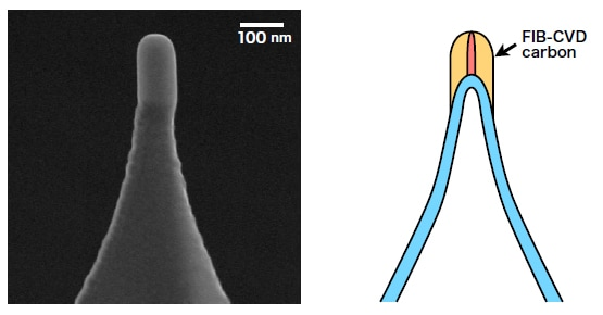 SEM image and schematic representation of nanocarbon probe