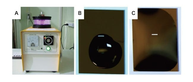 Fig. 2  (A) Hydrophilic treatment applied before assembling the solution cell. (B,C) Result of dripping equal amounts of water for 30 seconds on E-chips before (B) and after (C) hydrophilic treatment. The hydrophilic treatment ensures uniform wetting of the windowed slab.