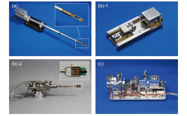 Fig. 3 (a) Test apparatus used with the S-5500 (developed exclusively for Nanofactory), (b) test apparatus used with the SU8230 (1. Hysitron PI85, 2. Kleindiek micromanipulator), (c) test apparatus used with the SU5000 (custom-developed)