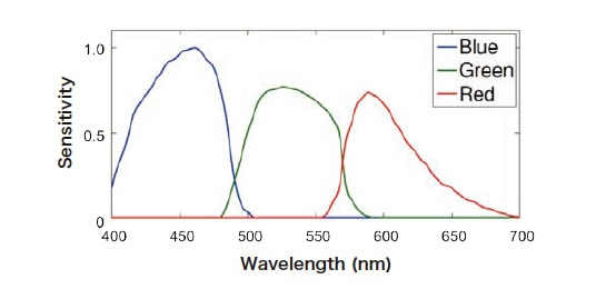 Fig. 3 Spectral sensitivities of camera's color channels