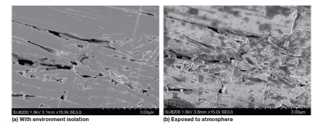 Fig. 7 Example of cross-section milling of a lithium-ion battery anode material