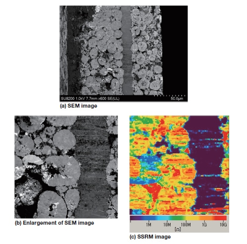 Fig. 11 Results of cross-section SEM-AFM observations of a cathode material for lithium-ion batteries