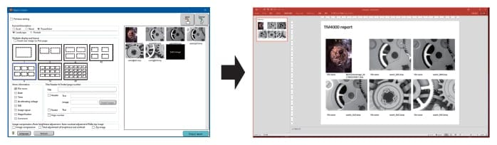 Fig. 4 The report-creation software window (left) and an example of a Powerpoint® report created by this feature (right).