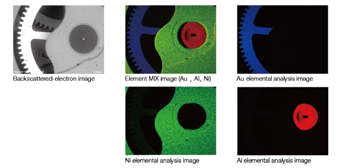 Fig. 7 Elemental analysis images acquired by a TM4000 instrument equipped with an EDS