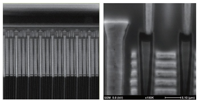 Fig. 3 Left: Real-time monitoring via FF mode (Acc: 2 kV, field of view: 6 µm) Right: High-resolution observation via HR mode (Acc: 5 kV, field of view: 0.6 µm) Sample: Commercially available 3D-NAND flash memory