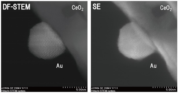 Fig. 8 High-resolution DF-STEM and SE images of Au nanoparticle catalyst supported by CeO2 (Haruta Catalyst)