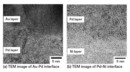 Fig. 7 High-resolution TEM images of interfacial regions in Ni/Pd/Au plating