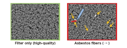 Fig. 6 An example in which the AI engine was trained to identify asbestos fibers on a filter.
