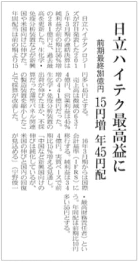 edition of Nihon Keizai Shimbun reporting